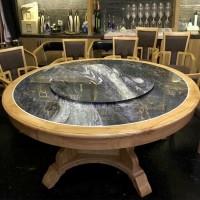 厂家定制酒店实木圆桌餐桌中式电动转盘大圆桌餐桌