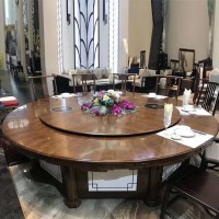 全实木伸缩餐桌圆桌旋转放大折叠新中式家用酒店桌