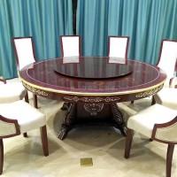 联肯家具酒店电动餐桌电动旋转餐桌实木椅自动转盘电动圆桌