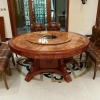 电动餐桌大圆桌古典中式实木雕花火锅桌椅组合自动旋转盘餐台