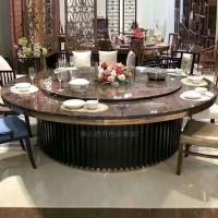 中式实木餐桌椅组合酒店大圆桌带转盘家用1.8米餐桌饭桌