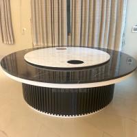 可定制会所大户型餐厅电动圆形饭桌 酒店包房转盘圆形大餐桌组合