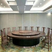 新中式酒店电动餐桌餐椅组合实木餐台现代自动大圆桌多人餐厅家具