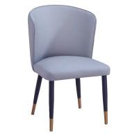 轻奢意式餐椅舒适绒布椅实木皮餐椅设计师椅简约靠背休闲椅洽谈椅